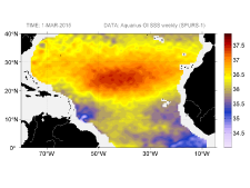 Sea surface salinity, March 1, 2015