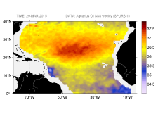 Sea surface salinity, March 29, 2015