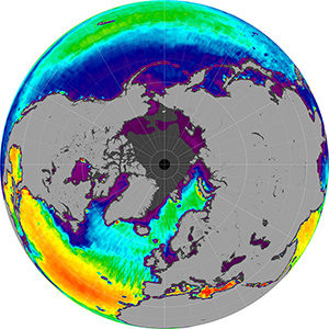 Sea surface salinity in the Northern Hemisphere, August 2012