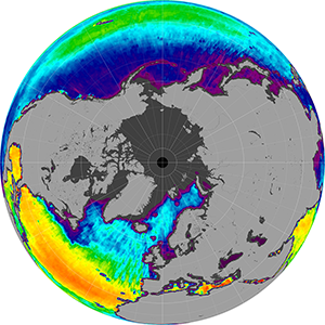 Sea surface salinity in the Northern Hemisphere, December 2012