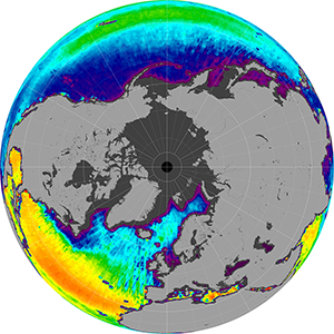 Sea surface salinity in the Northern Hemisphere, February 2013