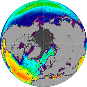 Sea surface salinity in the Northern Hemisphere, July 2012