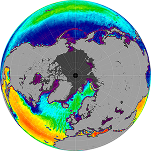 Sea surface salinity in the Northern Hemisphere, July 2013