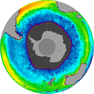 Sea surface salinity in the Southern Hemisphere, July 2013