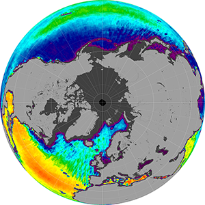 Sea surface salinity in the Northern Hemisphere, March 2012