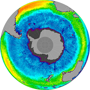 Sea surface salinity in the Southern Hemisphere, March 2012