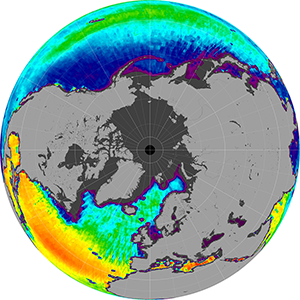 Sea surface salinity in the Northern Hemisphere, March 2014