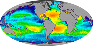 Global sea surface salinity, March 2015