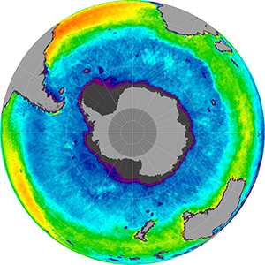 Sea surface salinity in the Southern Hemisphere, March 2015