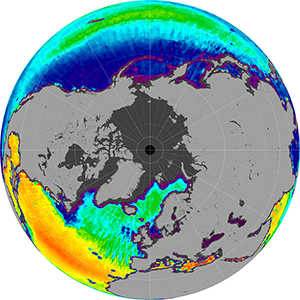 Sea surface salinity in the Northern Hemisphere, May 2014