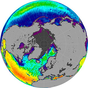 Sea surface salinity in the Northern Hemisphere, October 2012