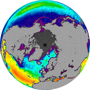 Sea surface salinity in the Northern Hemisphere, October 2013