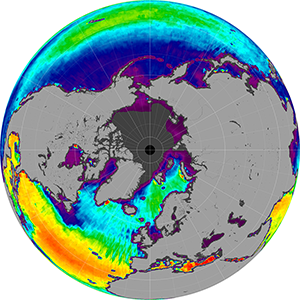 Sea surface salinity in the Northern Hemisphere, September 2013