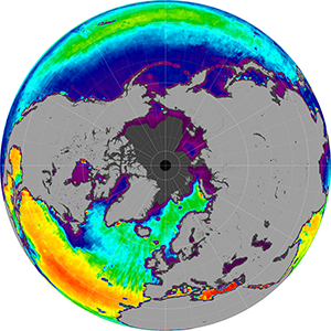 Sea surface salinity in the Northern Hemisphere, September 2014