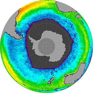 Sea surface salinity in the Southern Hemisphere, September 2014