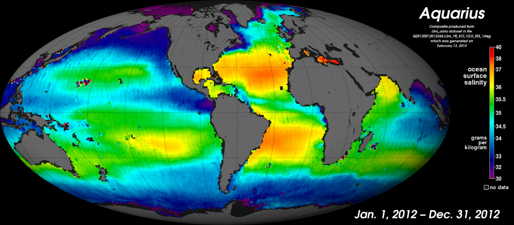 2012 Global ocean surface salinity map