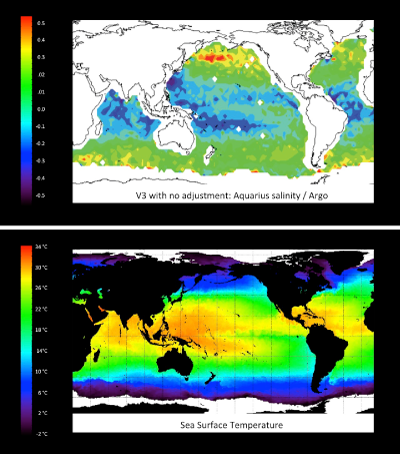 Global sea surface salinity and sea surface temperature maps