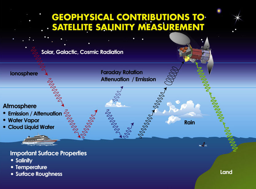 Geophysical factors that need to be included in the retrieval of salinity form a sensor in space