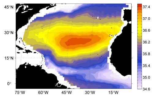 Mean sea surface salinity between Sep. 2012 and Sep. 2013