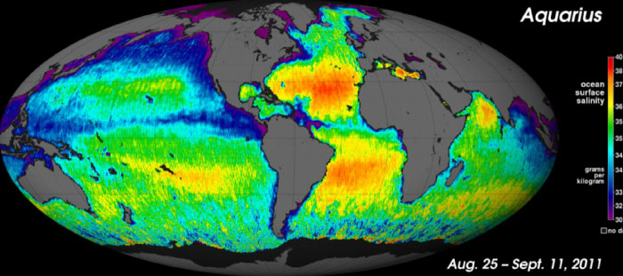 First global map of the salinity of Earth's ocean surface