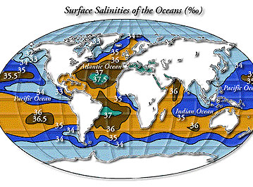 Surface salinities of the oceans